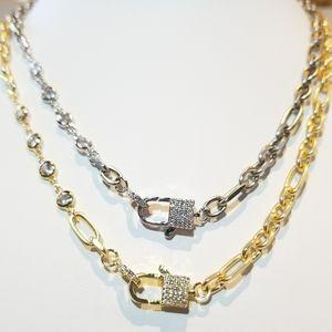 Jewelry - Trendy Lock Clasp Diamond Pave CZ Chain Necklace